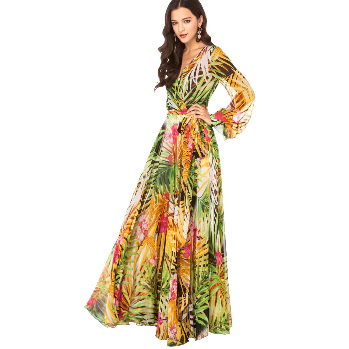 b900dd169b88 XS-XXL New fashion Summer tropical flower print chiffon long sleeve length  elegant one-piece dress  HT093