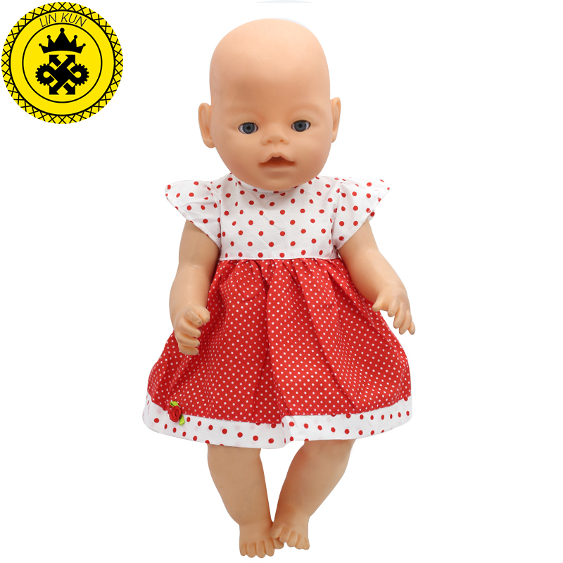 Fit 43cm Zapf Baby Born Doll Clothes White & Red Dot Floral Clothes Dress Christmas Gift Doll Accessories Fashion 211 baby born doll clothes bat patch skirt dress fit 43cm baby born zapf or 17inch baby born doll accessories high quality love 183
