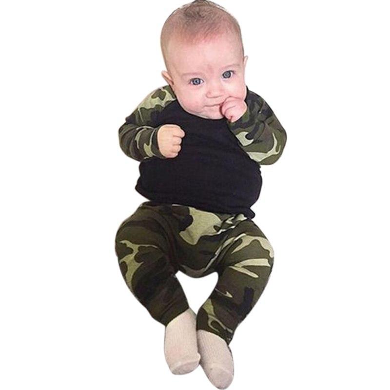 Модные камуфляжные новорожденных Для маленьких мальчиков детские топы Длинные Брюки 2 предмета в комплекте Одежда для младенцев ...