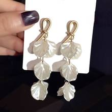 2019 New Boho Knot White Shell Petal Long Drop Earrings Women Fashion Jewelry Summer Holiday Beach pendientes