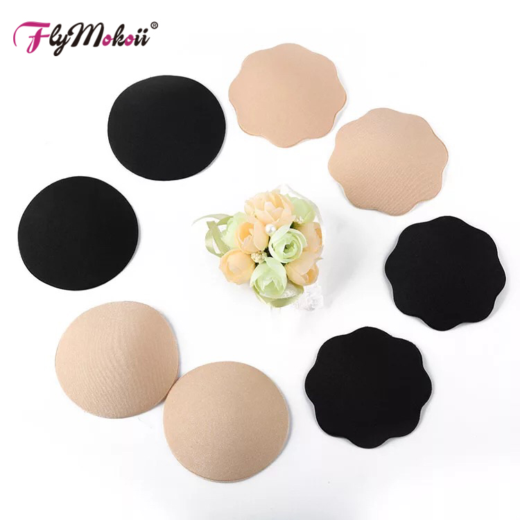 1 Pair Silicone Nipple Cover Round Black Nipple Stickers Self Adhesive Breast Pad Pasties Petal Invisible Nipple Accessories