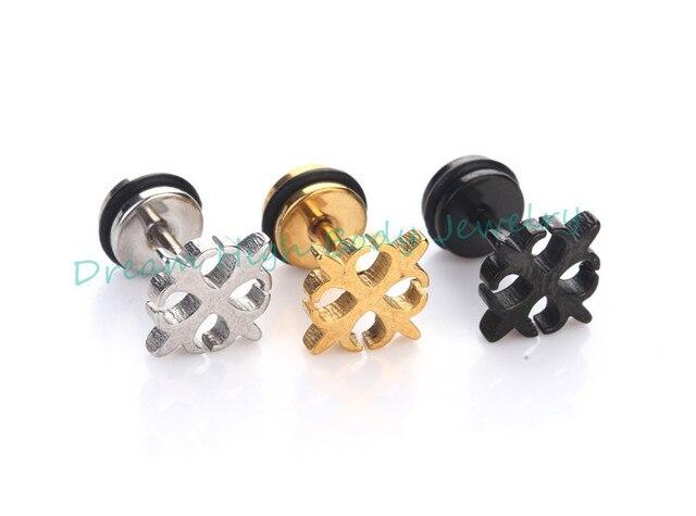 Unisex Stainless PLAIN STEEL BALL EAR STUDS, Upper Ear, Earrings, 3 -10mm BLACK