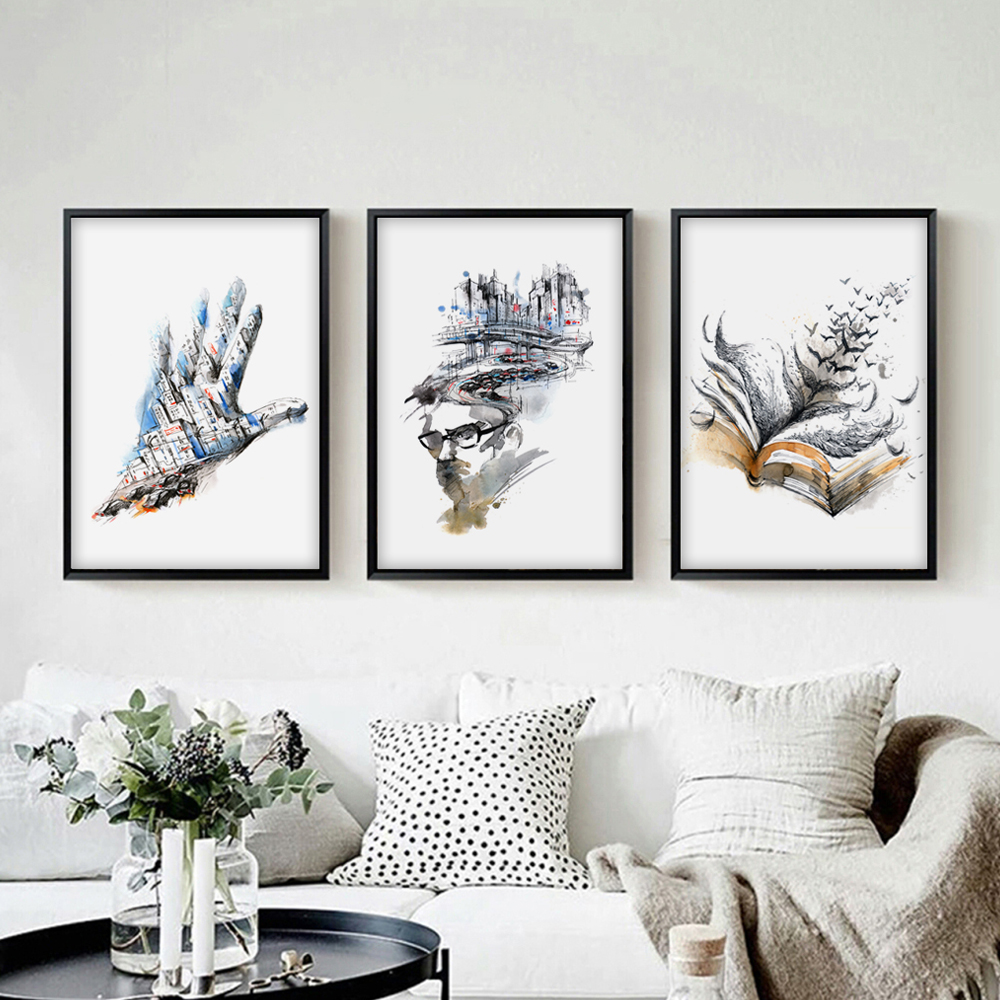 Modern Abstract Watercolor Urban Angle A4 Canvas Painting Art Print Poster Picture Wall Paintings Home Decoration Decor