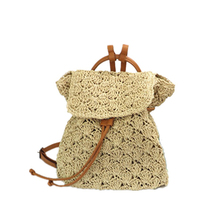 Fashion Ladies Backpack Popular Hollow Handmade Rattan Backpacks Women Straw Bohemia Vacation Tourism Summer Bag