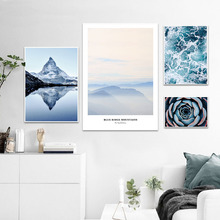 Mountain Succulent Plants Wall Art Scandinavian Canvas Painting Landscape Nordic Posters Living Room Pictures Unframed