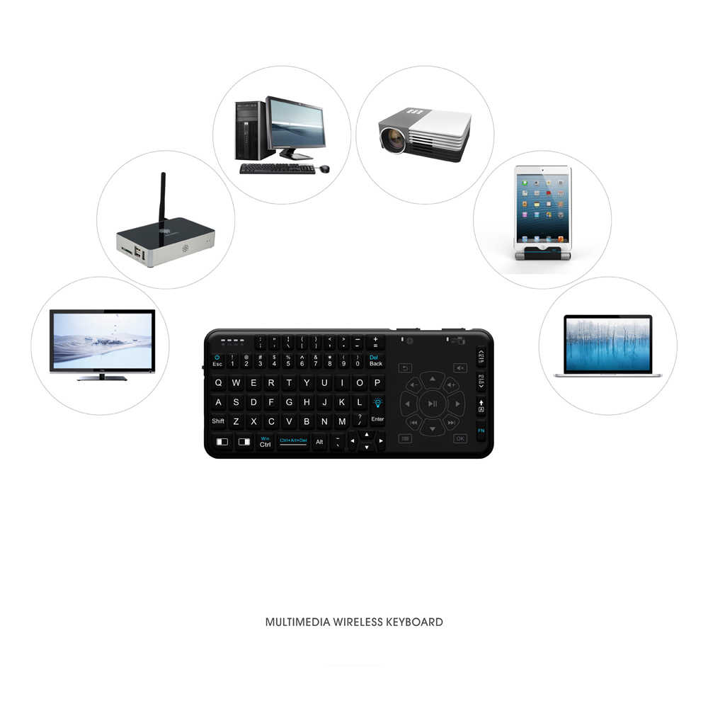 Rii Wireless Keyboard Handheld Multifunction Backlit Keyboard with Touchpad Trackpad Combo for Mac Desktop Laptop Andriod TV Box