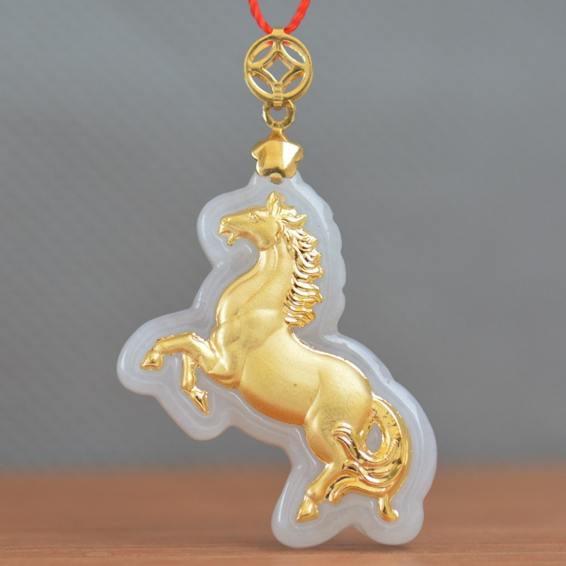 2018 New Style Jade Necklace For Men Women Animal Horse Hot Jade Pendants Fashionable Jewelry Pendant