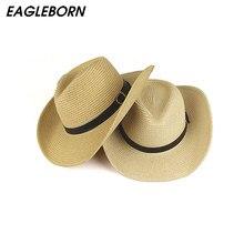 58c3b4ce27 Homens da moda fedora chapéu de cowboy para o homem praia verão sol de palha  chapéu proteger chapéu de palha Fedora com cinto es.
