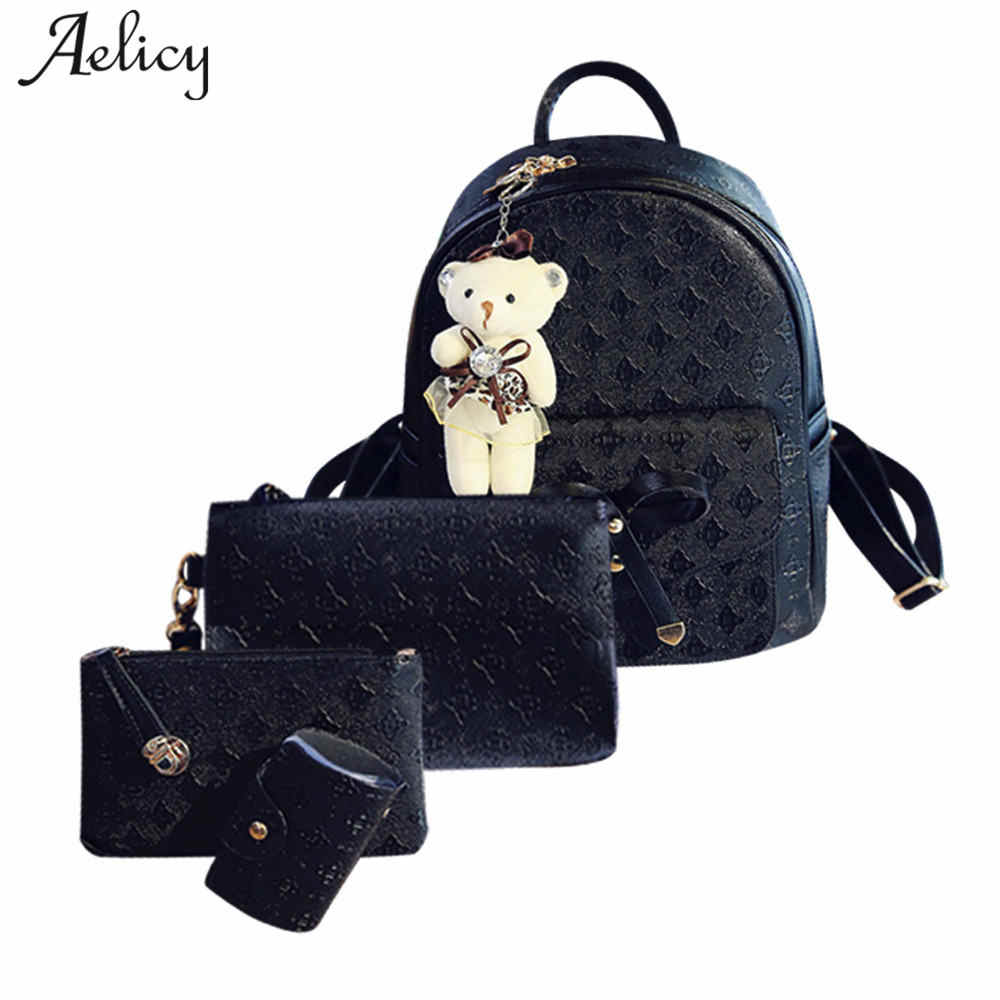 68c197cb544e Aelicy 4Pcs Set Small Women Backpacks Female School Bags For Teenage Girls  Black PU Leather