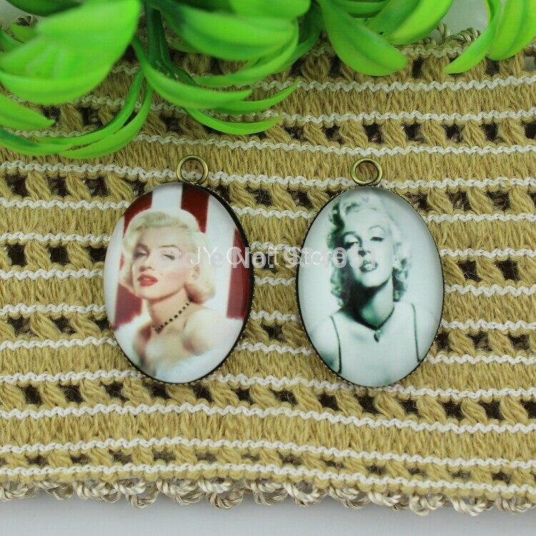 Wholesale Home Décor Fashion Accessories: Set Of 20pcs Wholesale Marilyn Monroe Glass Memento Bronze Fashion Charm Pendant Jewelry