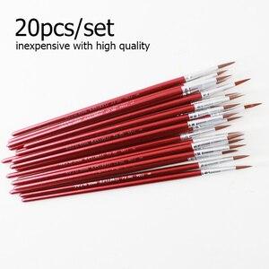 Image 2 - Memory 20Pcs Short Handle Artist Paint Brush Set Round Shape Nylon Hair Hook line Brush Set for Oil Watercolor Acrylic