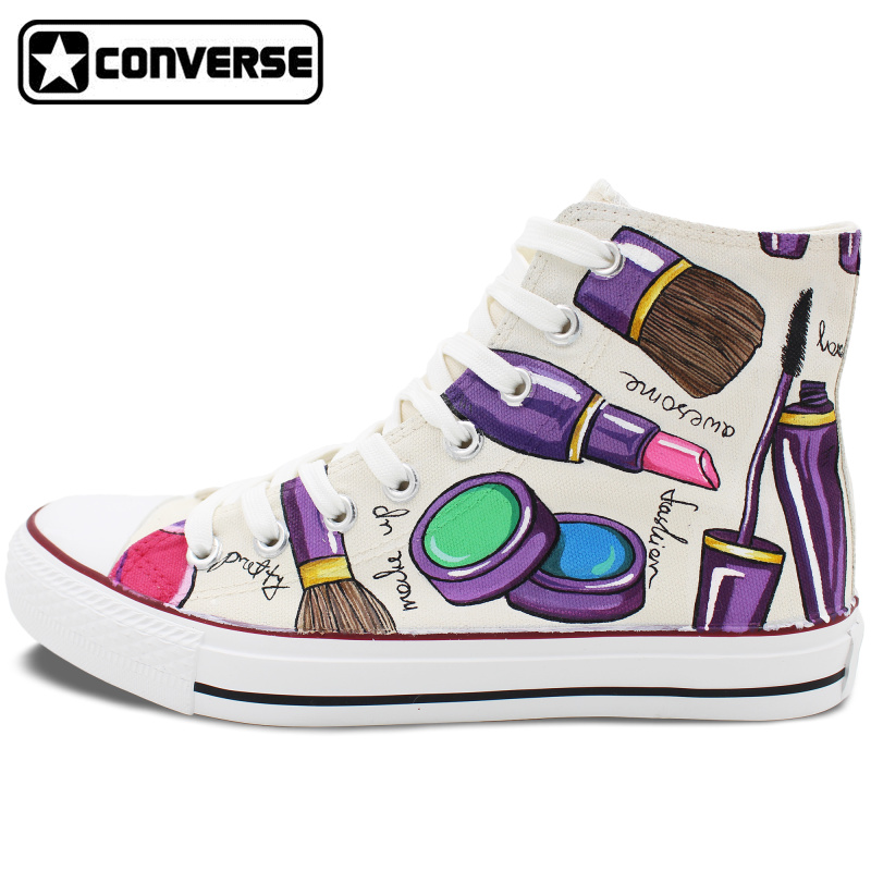 Custom Converse All Star Hand Painted font b Shoes b font Womens Cosmetics High Top White