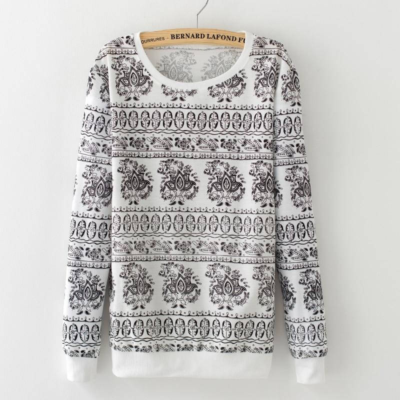 New 2016 Fall womens ice cream flower printed basic cotton french terry pullover sweatshirt Women thin Hoodies