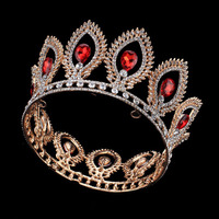 Red Crystal Crown Full Round Tiara Wedding Headpieces Party Show Head Jewelry Princess King Crown Gold Tiara Women Hair Jewelry