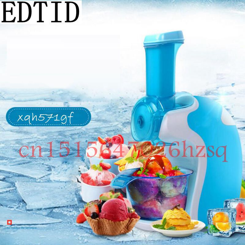 EDTID 200W 220V Household Electric Fruits Ice Cream Maker Full-Automatic DIY Ice Cream Mini Pink and Blue colors edtid portable automatic ice maker household bullet round ice make machine for family small bar coffee shop 220 240v 120w eu us