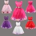 2015 мода летние детские одежда девочек принцесса бальное платье дети свободного покроя лепесток ну вечеринку платье без рукавов с поясом