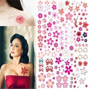 Водостойкие Цветочные наклейки для татуировок для взрослых и детей, женский боди-арт, маленький дизайн сакуры, поддельные татуировки