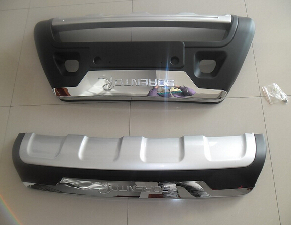 Good quality plastic ABS Chrome Front+Rear bumper cover trim for 2013 KIA Sorento Car styling for 2011 2012 2013 2014 2015 kia sportage high quality plastic abs chrome front rear bumper cover trim car styling accessories