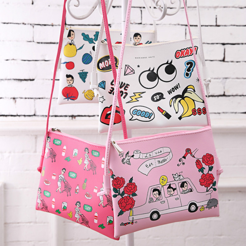 New Fashion Girls' shoulder bag cartoon big eye PU leather handbag female cross Messenger bags cute children pink / white gift