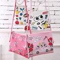 Nuevas muchachas de la manera bolso de hombro de dibujos animados big eye cuero de la pu bolso femenino del bolso de la cruz bolsas de Mensajero lindo los niños de color rosa/blanco regalo