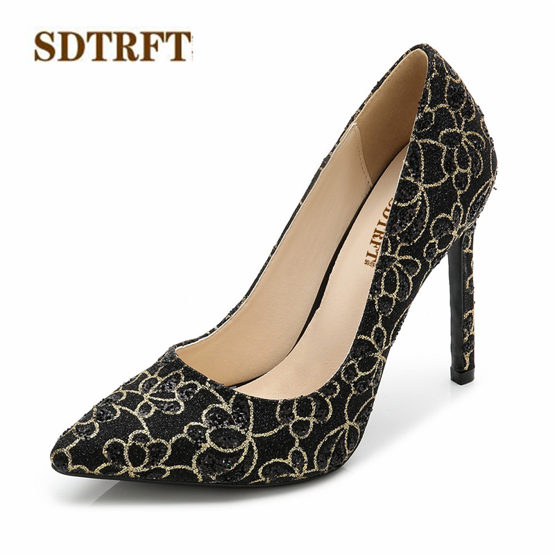 SDTRFT RED stilettos 11cm thin heels Sequins wedding shoes woman Shallow mouth pumps Pointed Toe zapatos mujer Plus:35-44 45 46SDTRFT RED stilettos 11cm thin heels Sequins wedding shoes woman Shallow mouth pumps Pointed Toe zapatos mujer Plus:35-44 45 46