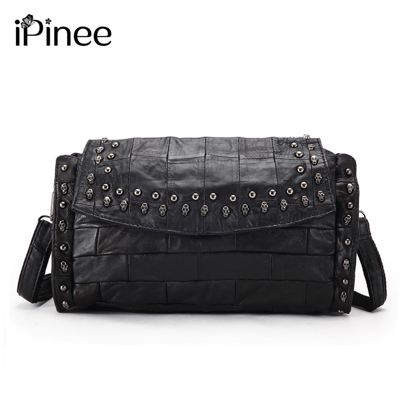 Casual Women Purses And Handbags High Quality Sheepskin Genuine Leather Skull Bags With Chain Decoration
