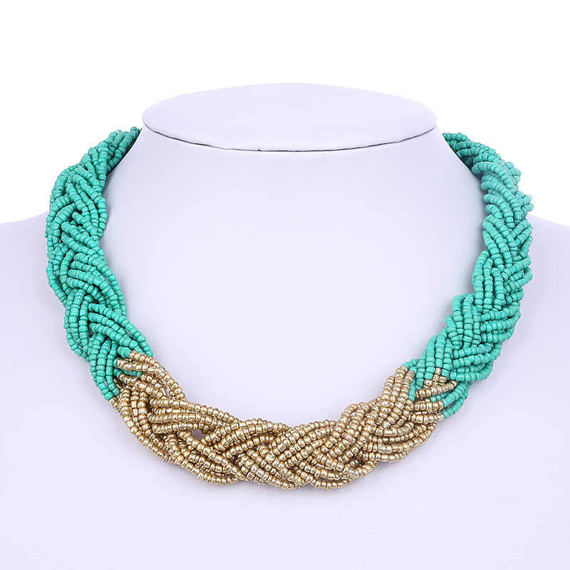 Bohemian Vintage Blue Black Red Color Beads Handmade Weave Chains Choker Necklace for Women Boho Chunky Jewelry Gift