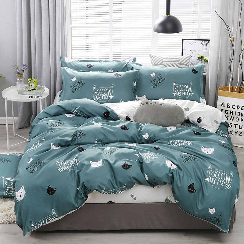 Cartoon Cat 4pcs Kid Bed Cover Set Cartoon Duvet Cover Adult Child Bed Sheets And Pillowcases Comforter Bedding Set 2TJ-61003