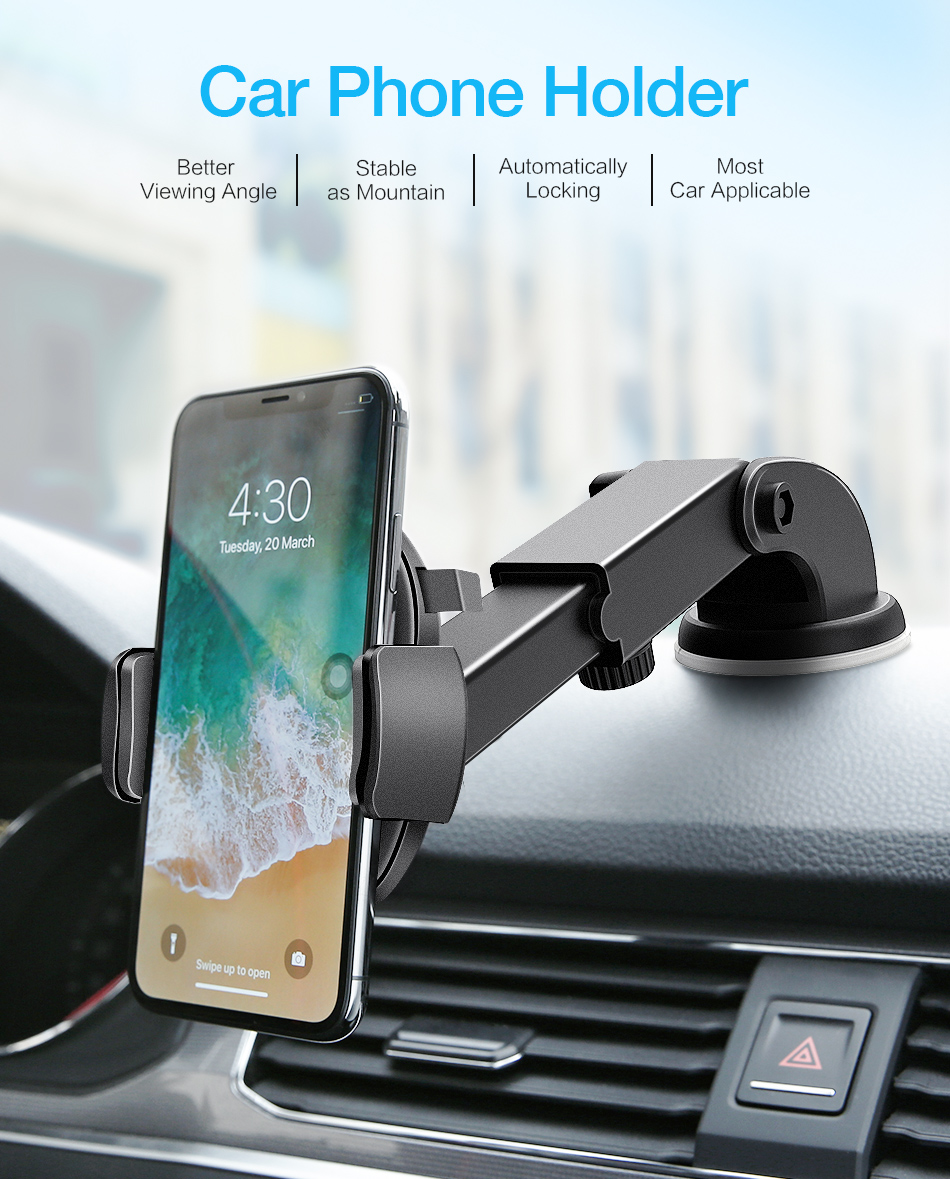 RAXFLY Telescopic Automatic Lock Car Holder 360 Rotation Adsorption Vehicle Mount Bracket Car Phone Holder For Samsung S9 Plus (1)