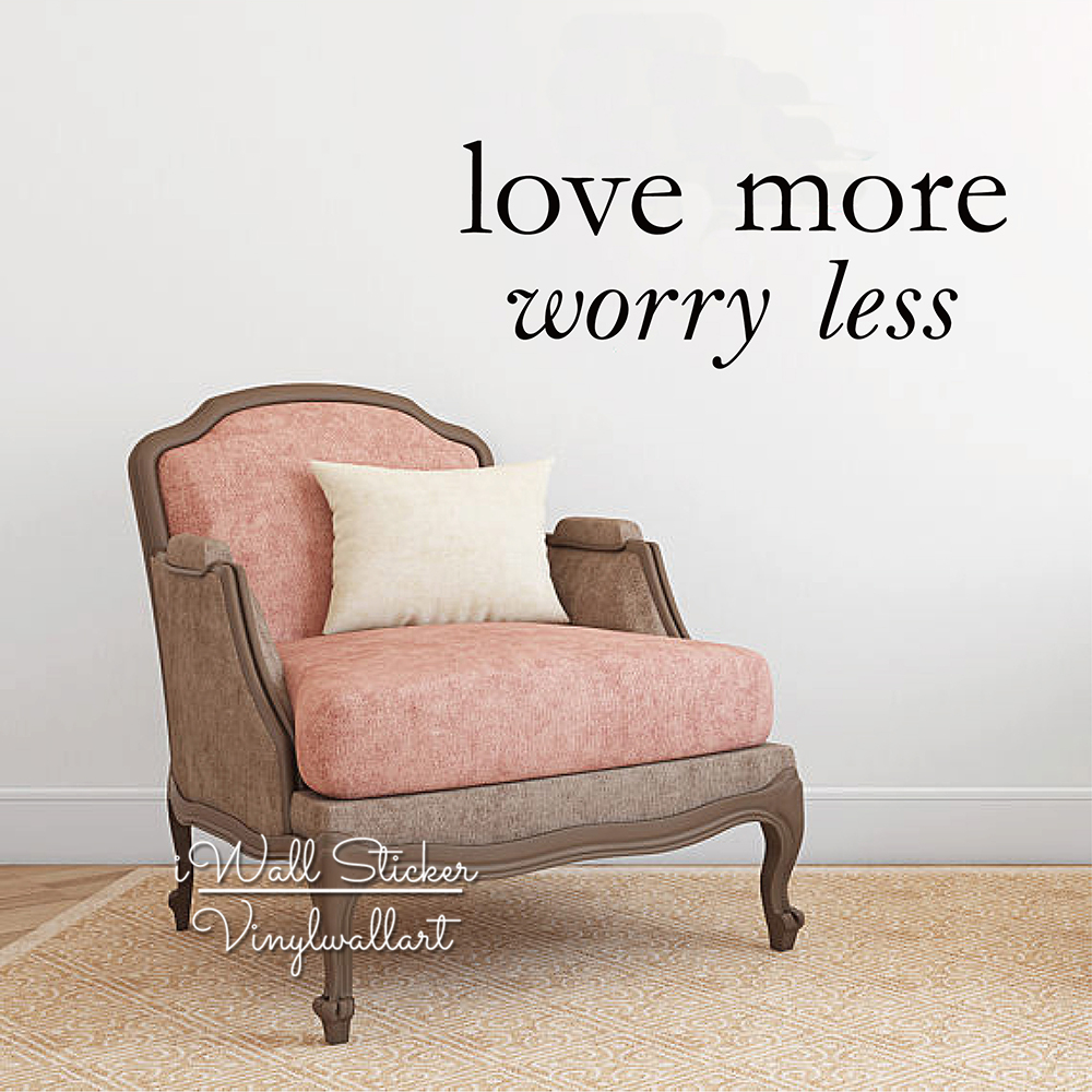 Love More Worry Less Quote Wall Stickers Inspirational Decal Lettering Motivational Decor Cut Vinyl Q269