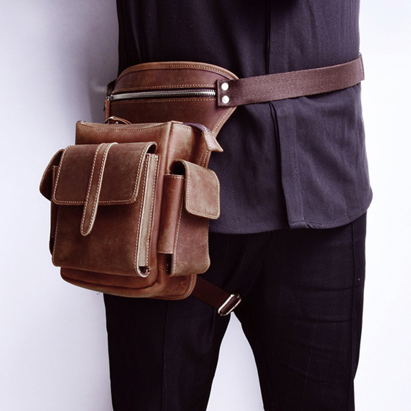 Men Cowhide Waist Bag Genuine Leather Travel Motorcycle Messenger Shoulder Bags Hip Belt Fanny Pack Thigh