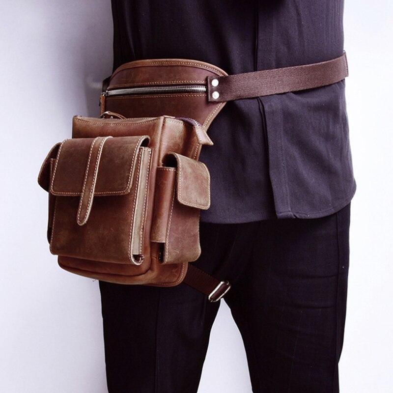 Hommes peau de vache taille sac en cuir véritable voyage moto Messenger sacs à bandoulière hanche ceinture Fanny Pack cuisse goutte jambe sac pour homme-in Taille Packs from Baggages et sacs    1