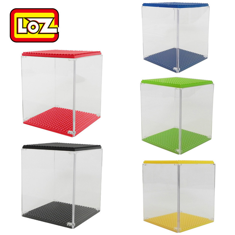 LOZ Mini Blocks Display Case acrylic DIY Educational Toys box for Plastic Building Toys Bricks Kids Toys Children Gifts 9900 32 32 dots plastic bricks the island straight crossroad curve green meadow road plate building blocks parts bricks toys diy