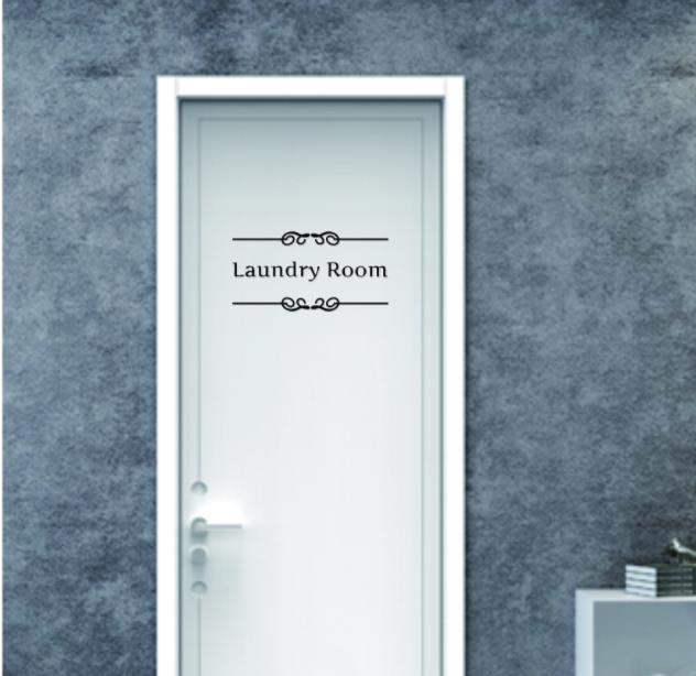 & toilet bathroom en suite laundry tanning beauty room wall stickers Door Vinyl Decal Transfer Vintage Decoration Quote