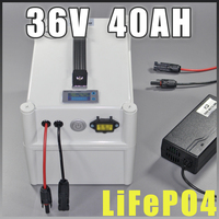 36V 40Ah LiFePO4 Portable battery , 2000W Electric Bicycle Battery + BMS Charger 36v lithium scooter electric bike battery pack