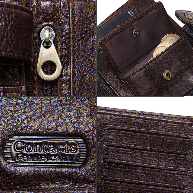 CONTACT'S Top Quality Genuine Cow Leather Wallet Men Hasp Design Short Purse With Passport Photo Holder For Male Clutch Wallets 5