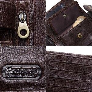 Image 5 - CONTACTS Top qualité véritable portefeuille en cuir de vache hommes moraillon Design court sac à main avec passeport porte Photo pour hommes portefeuilles dembrayage