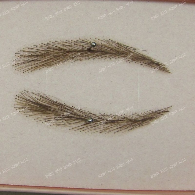 EB012 invisible swiss lace relastic hand made human hair false eyebrow  dark brown color #2