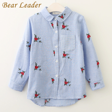 Bear Leader Girls Shirts 2017 New Autumn Brand Baby Girls Blouse Red Flowers Embroidery Strip Kids Shirts Children Clothing