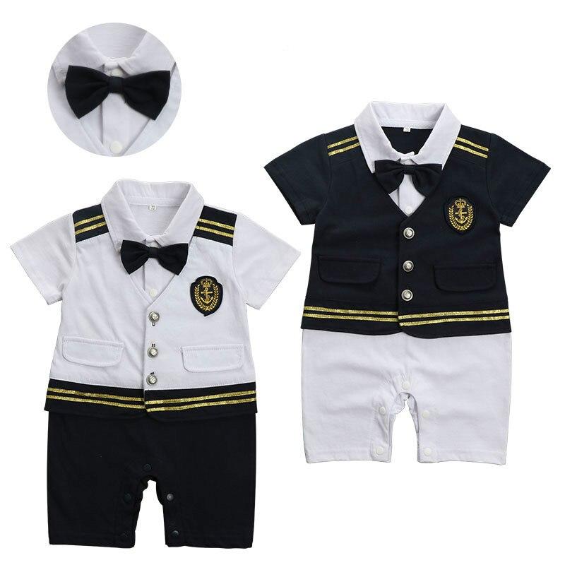 Infantil criança menino roupas de mangas curtas marinheiro capitão ... de82b2398e118