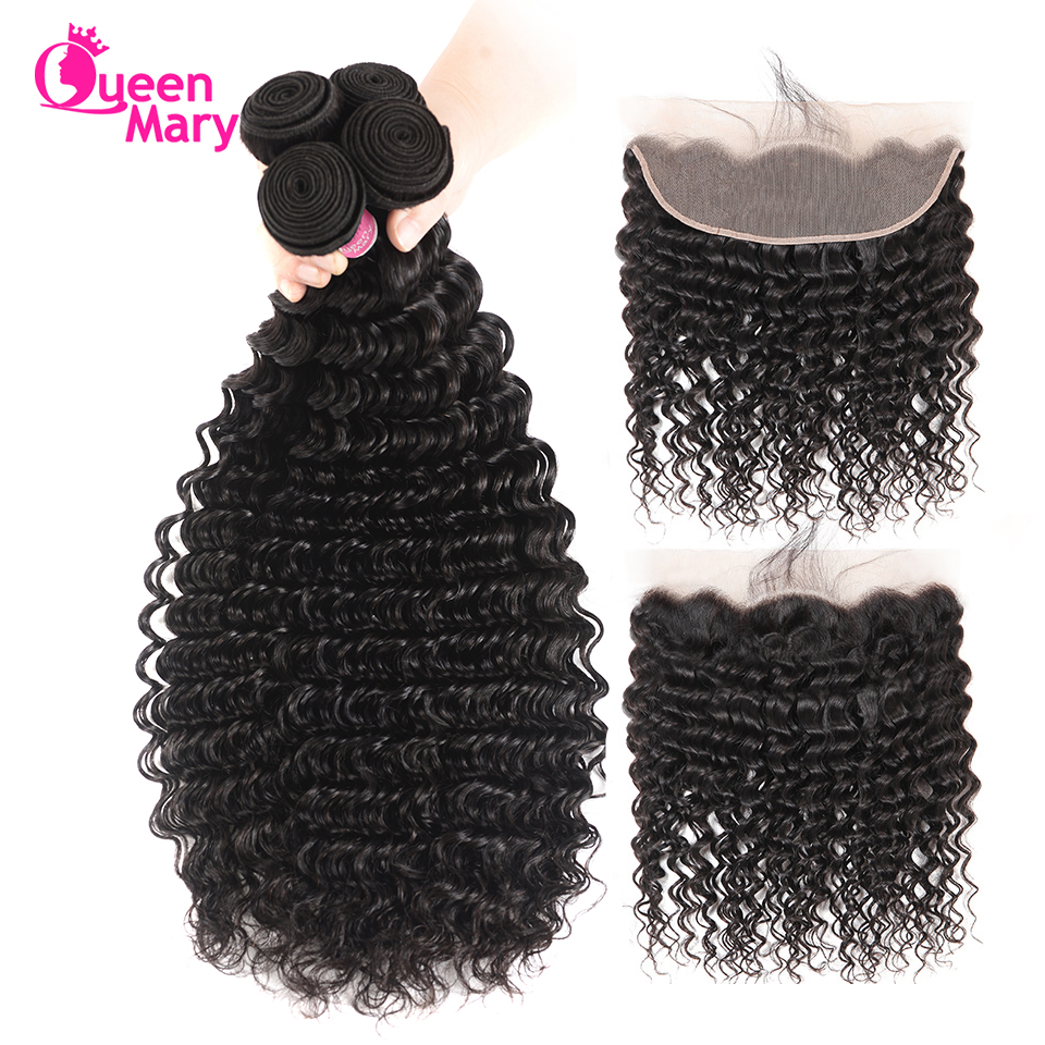 Deep-Wave-Bundles Frontal-Closure 100%Human-Hair Queen Mary Brazilian with Non-Remy