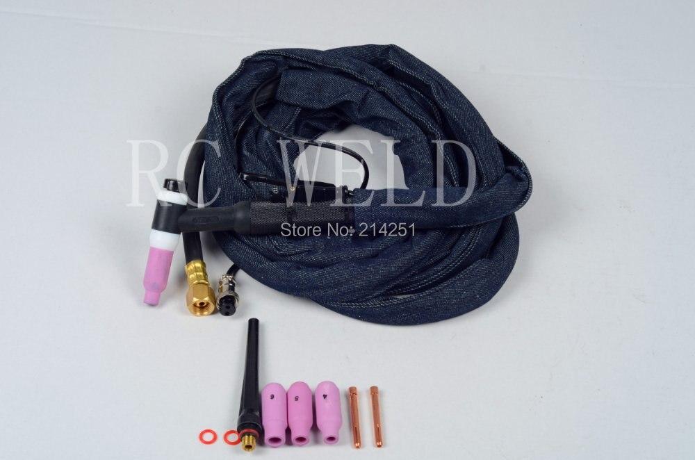 RSTAR WP26 200Amp четырехтактный двигатель с воздушные охлаждением горелки TIG сварки факел 13 средства ухода за кожей стоп Кабельный разъем: M16* 1,5 размер 2pin штепсельная вилка