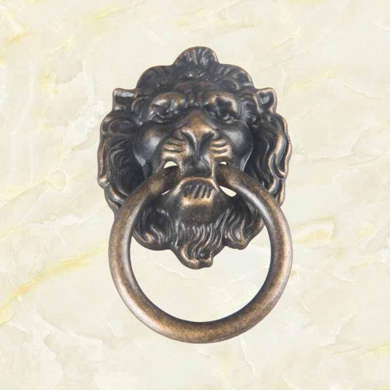Antik bronz aslan kafa çeker Dresser çekmece dolap kapı kolları