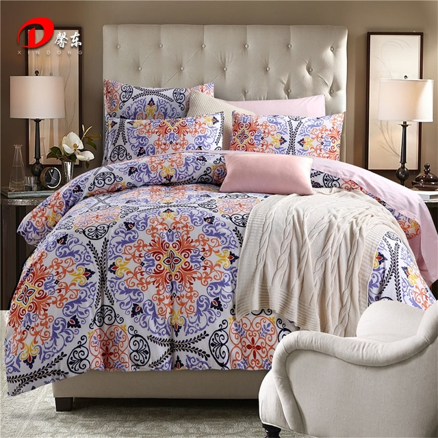 Luxury Satin Bed Linen Egyptian Cotton Bedding Set King Queen Size High Quality Reunion Fl