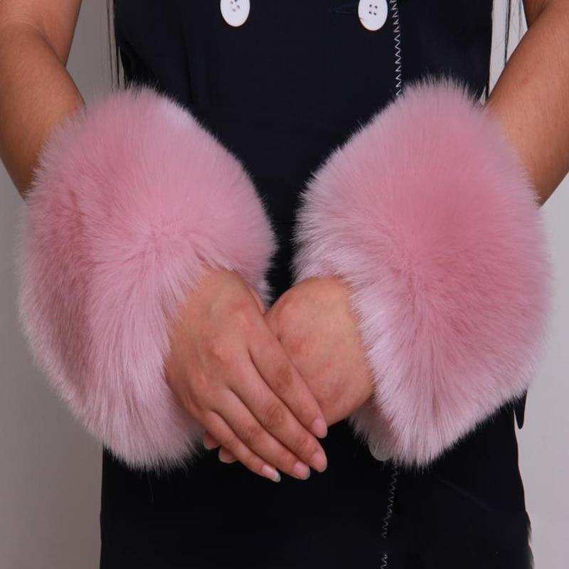 Gtc210 2014 Fashion Black & White Genuine Fox Fur Accessory Of Sleeves For Women Real Fur Wristband Cuff Apparel Accessories