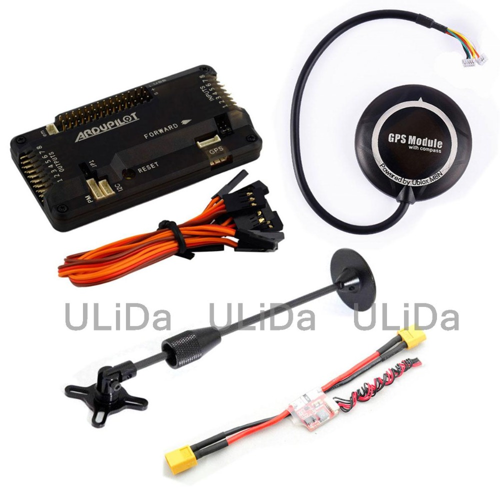 APM2.8 ArduPilot Mega Flight Controller Board ( SIDE PIN )+ Ublox NEO-M8N GPS + 5V 3A Power Module + Antenna Mount + Cable apm 2 6 flight controller board ardupilot mega 2 6 version with side pin connector for multicopter
