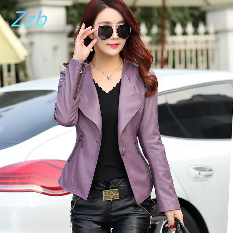 Autumn punk outfits Women's Short Paragraph Slim Small Jacket Ms.   Leather   Jacket Women Black Motorcycle Jackets And Coats