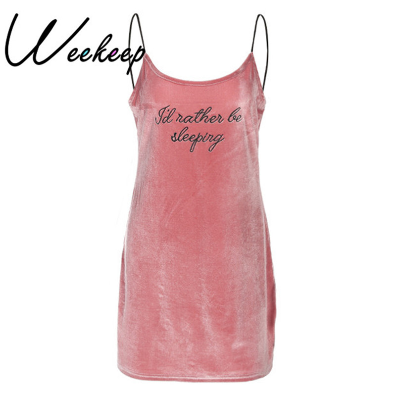 Weekeep Sexy Spaghetti Strap <font><b>Dress</b></font> Women Pink Embroidery Letter <font><b>Velvet</b></font> Loose <font><b>Dresses</b></font> Spring Summer Casual V-neck Vestidos