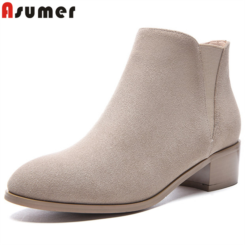 ASUMER black fashion autumn shoes woman round toe ankle boots med heels suede leather boots elegant ladies prom shoes size 34-43ASUMER black fashion autumn shoes woman round toe ankle boots med heels suede leather boots elegant ladies prom shoes size 34-43