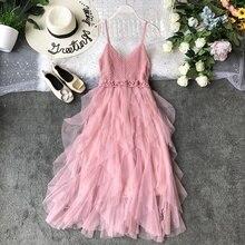 2020 yaz yeni seksi askı sütyen örgü elbise yaz örme dikiş oynak Ruffled gazlı bez Patchwork Vestidos